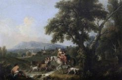 A Classical Landscape with Peasants Fording a Stream | Francesco Zuccarelli | Oil Painting