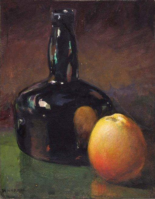 Still Life - Apple and Bottle | William Henry Holmes | Oil Painting