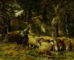 Shepherd and His Flock | Charles Emile Jacque | Oil Painting
