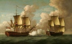 HMS 'Brune' Captures French Ship 'L'Oiseau' | John Cleveley the Elder | Oil Painting