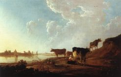 River Scene with Milking Women | Aelbert Cuyp | Oil Painting