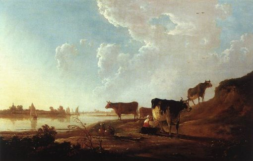 River Scene with Milking Women   Aelbert Cuyp   Oil Painting