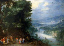 Figures beside a River Landscape   Jan Brueghel the Elder   Oil Painting