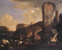 Italianate Landscape with a River and an Arched Bridge | Jan Asselijn | Oil Painting