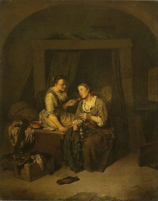 Two Women Drinking and Smoking | Cornelis Pietersz Bega | Oil Painting