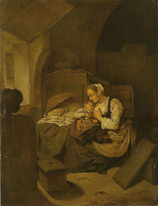 Interior with Mother Nursing her Child | Cornelis Pietersz Bega | Oil Painting