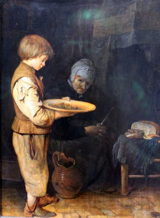 Old Woman and Boy Sharing a Simple Meal | Gerard ter Borch the Elder | Oil Painting
