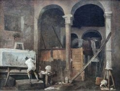The Artist's Studio   Hubert Robert   Oil Painting