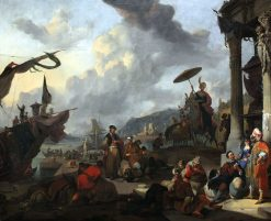 Mediterranean Harbour Scene | Johannes Lingelbach | Oil Painting