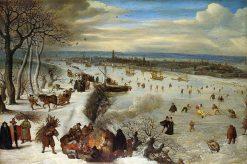 View of Antwerp with the Frozen Schelde   Lucas van Valckenborch   Oil Painting