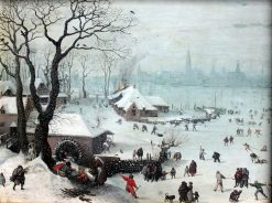 Winter Landscape with Snowfall near Antwerp | Lucas van Valckenborch | Oil Painting