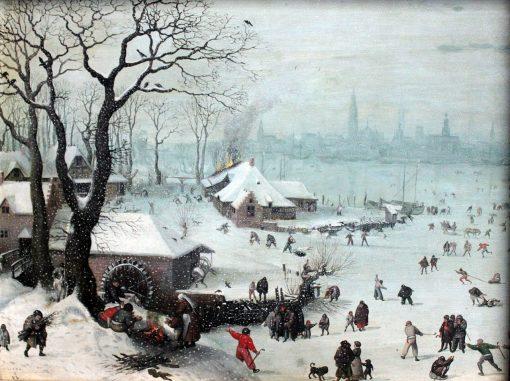 Winter Landscape with Snowfall near Antwerp | Lucas van Valckenborch | Oil Painting