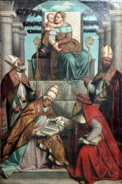 Virgin and Child Enthroned with the Four Fathers of the Latin Church | Moretto da Brescia | Oil Painting
