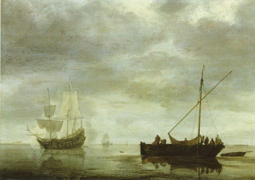 Frigate Giving a Salute | Simon de Vlieger | Oil Painting