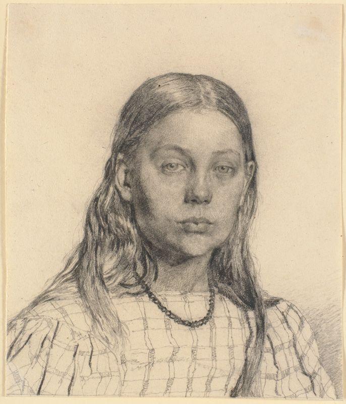 Study of a Girl (Ung Pige. Brystbillede)   Christen Købke   Oil Painting