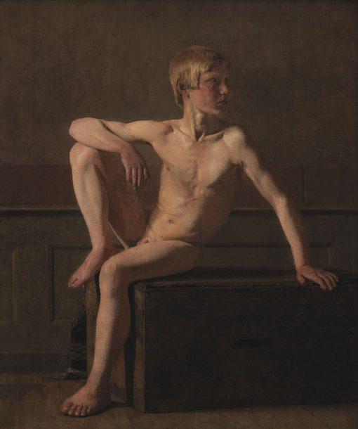 Nude Figure; Sitting Boy | Christen Købke | Oil Painting