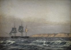 View of the cliffs of Møn and a Corvette | Christoffer Wilhelm Eckersberg | Oil Painting