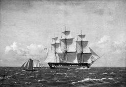 "The 84-Gun Danish Warship ""Dronning Marie"" in the Sound | Christoffer Wilhelm Eckersberg | Oil Painting"