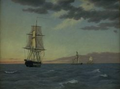"The Corvette ""Galathea"" Lying in order to Send Help to the Brig ""St Jean"" at Dawn after a Stormy Night 
