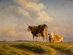 Two Cows in an Open Field | Johan Thomas Lundbye | Oil Painting