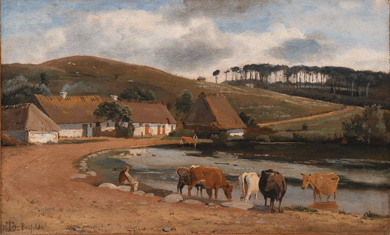 Cows Being Watered at a Village Pond