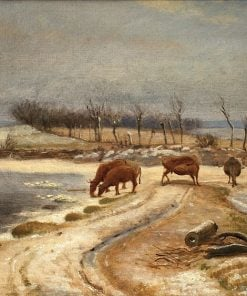 Watering the Cattle on a Winter's Day | Johan Thomas Lundbye | Oil Painting
