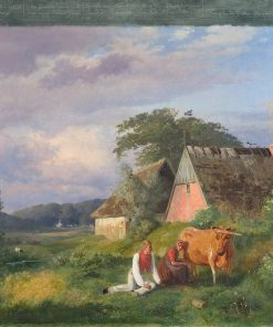 A Milking Scene from a Poem by Christian Winther | Johan Thomas Lundbye | Oil Painting