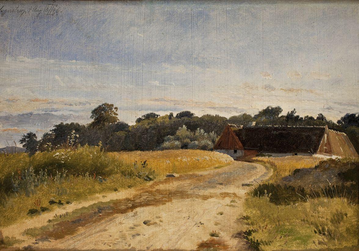 A Croft at Lodskov near Vognserup Manor (study) | Johan Thomas Lundbye | Oil Painting