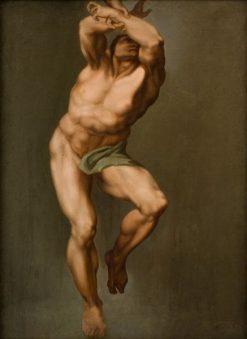 Male Figure after Michelangelo's 'Last Judgement' in the Sistine Chapel | Nicolai Abraham Abildgaard | Oil Painting