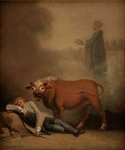 Niels Klim Thinks He Hears the Deacon when he is Awakened by a Bull | Nicolai Abraham Abildgaard | Oil Painting