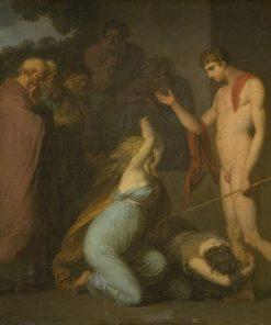 Ismene and Antogone Plead with Theseus | Nicolai Abraham Abildgaard | Oil Painting