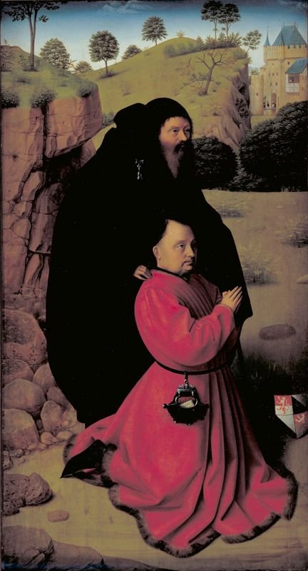 Portrait of a Donor in Scarlet Under the Protection of Saint Anthony | Petrus Christus | Oil Painting