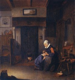 Old Woman Delousing a Child | Quiringh van Brekelenkam | Oil Painting