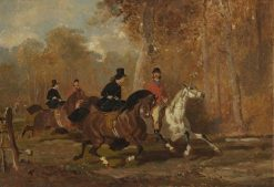 Equestrians in the Forest | Alfred de Dreux | Oil Painting