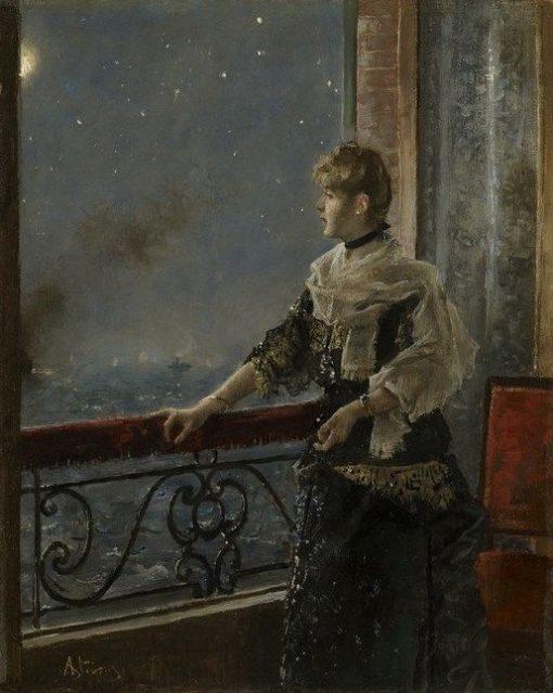 Moonlight(also known as Au clair de la lune) | Alfred Emile LEopold Stevens | Oil Painting