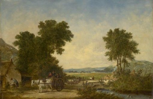 Wooded Country Landscape with Figures in a Cart | Alfred Vickers | Oil Painting