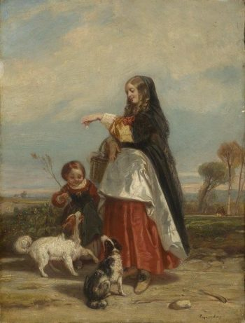 Woman and Child with Dogs | Camille Joseph Etienne Roqueplan | Oil Painting