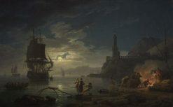 Coastal Scene in Moonlight | Claude Joseph Vernet | Oil Painting
