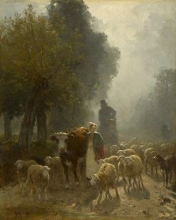 Going to Market on a Misty Morning | Constant Troyon | Oil Painting