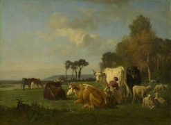 Cattle and Sheep in a Landscape | Constant Troyon | Oil Painting