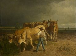 Oxen Ploughing | Constant Troyon | Oil Painting
