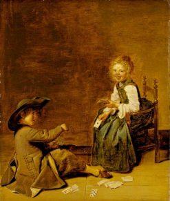 Children Playing Cards   Dirck Hals   Oil Painting