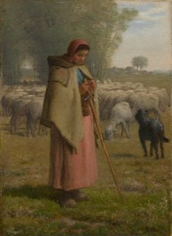 Young Girl Guarding Sheep | Jean Francois Millet | Oil Painting