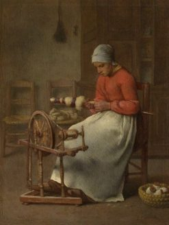 Woman Spinning | Jean Francois Millet | Oil Painting