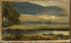 Dedham Church from Flatford | John Constable | Oil Painting