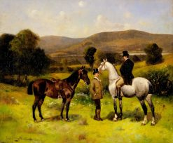 Two Horses and Riders | Nicholas Winfield Scott Leighton | Oil Painting