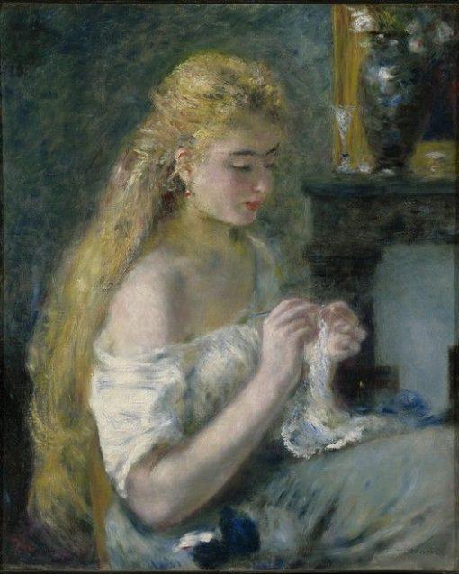 Woman Crocheting | Pierre Auguste Renoir | Oil Painting