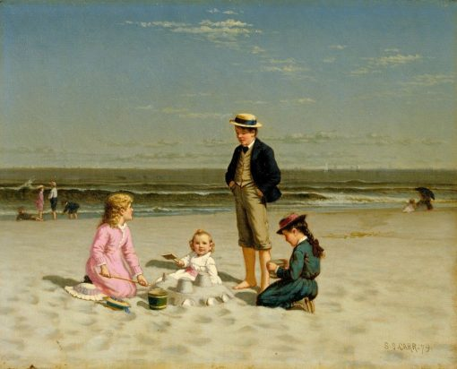 Children Playing on the Beach | Samuel S. Carr | Oil Painting