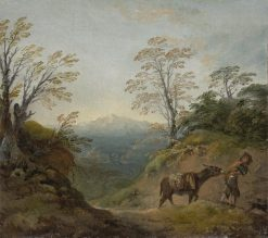 Wooded Landscape with a Boy Leading a Donkey and Dog