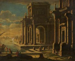 Capriccio of Classical Buildings in a Port | Alessandro Salucci | Oil Painting